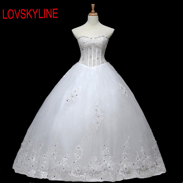 LOVSKYLINE 2017 Robe De Mariage Princess Bling Bling Luxury Crystals White  Ball Gown Wedding Dress Custom c3412ede749e