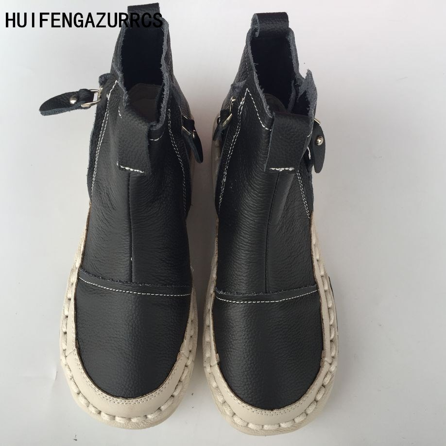 HUIFENGAZURRCS-New Genuine leather shoes,Pure handmade ankle boot,The retro art mori girl shoes, Fashion retro boots ,3 colors huifengazurrcs new genuine leather