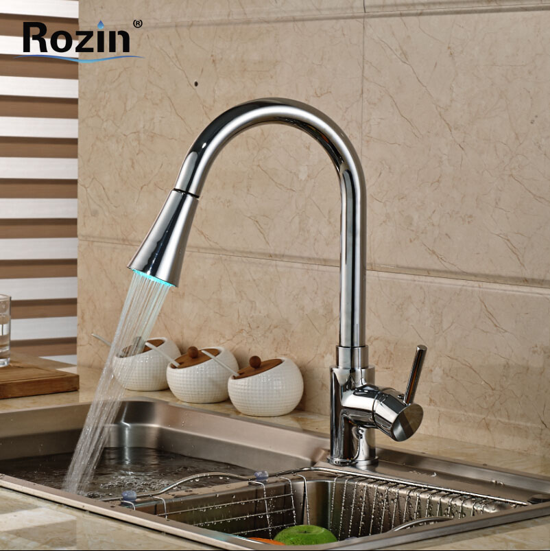 Polished Chrome LED Color Changing Kitchen Faucet Single Handle Brass Pull Out Dual Sprayer Nozzle Kitchen Sink Taps