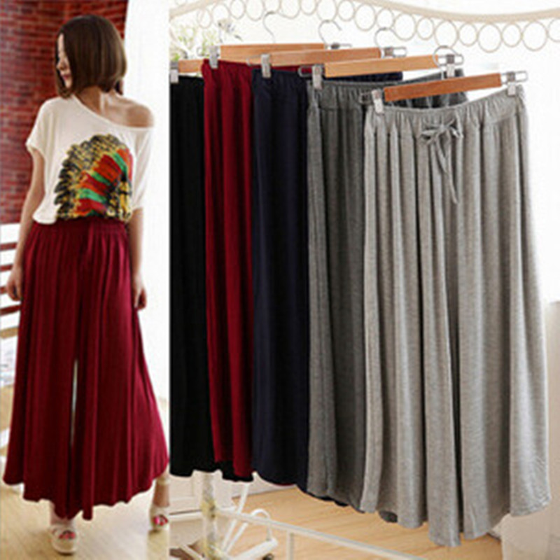 Women's Korean Version of The Large Size Loose Modal   Wide     Leg     Pants   Ladies Solid Color Straight Waist Swaying Culottes