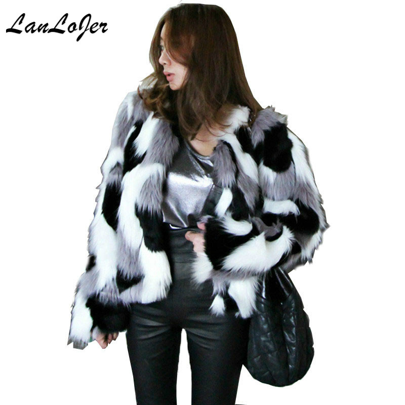 1Pc Winter Women Chic Bomber Hit Color Faux Fur O Neck Coat mixed color Mink Fox Streetwear camouflage Jacket Outwear High waist