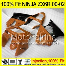 8Gifts Injection mold Body For KAWASAKI NINJA ZX-6R 00-02 INJ458 ZX 6R ZX6R 00 01 02 ZX636 2000 2001 2002 Fairing orange black