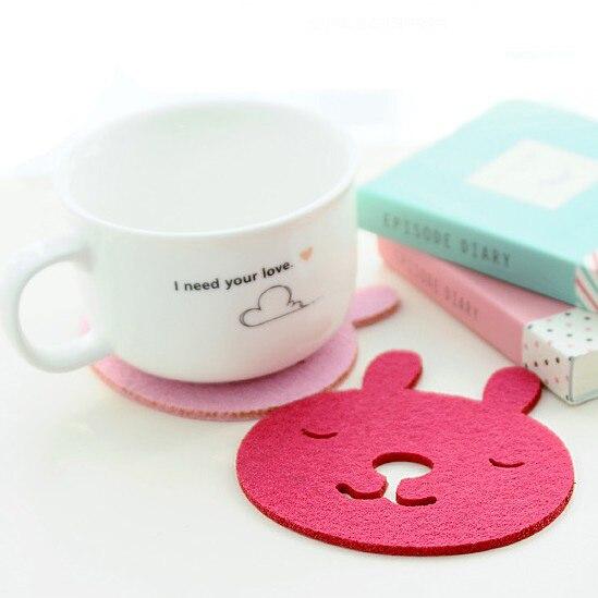 10*9.5cm Fashion Rabbit Felt Cloth Cup Pad Eco Friendly Coffee Cup Mat Coaster Party Favors 50pcs/lot SH059
