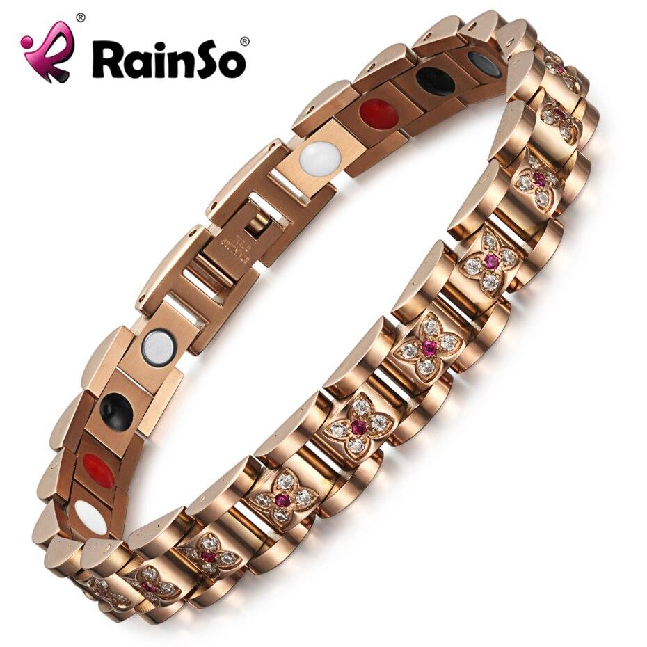 RainSo Magnetic Health Bracelet Bangle for Women Flower Zircon Charm Chain Link Hologram Bracelet Female Luxury Jewelry Healing