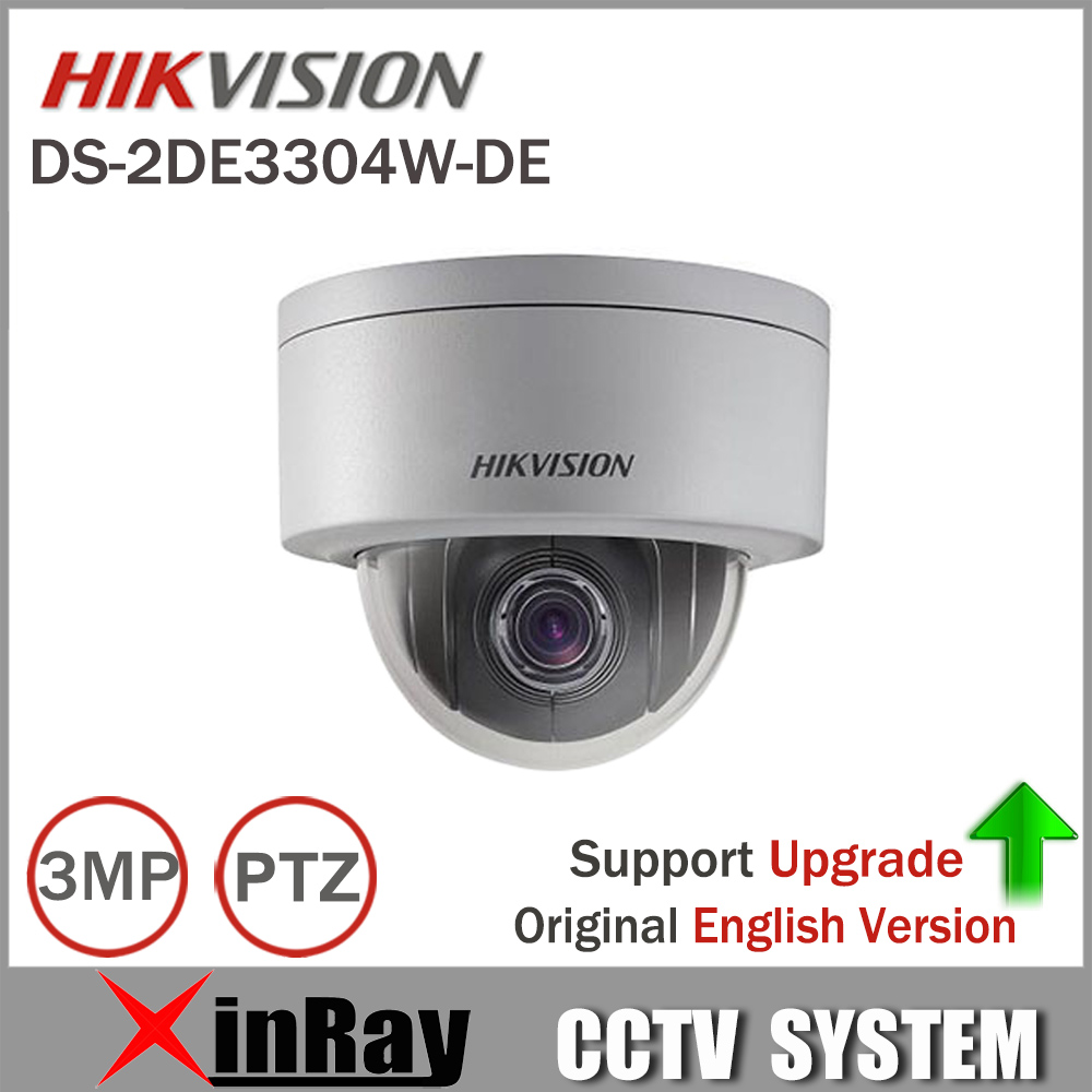 Express Shipping Hikvision PTZ IP Camera DS-2DE3304W-DE 3MP Network Mini Dome Camera 4X Optical Zoom Support Ezviz Remote View english version hikvision ptz ip camera ds 2de3304w de 3mp network mini dome camera 4x optical zoom support ezviz remote view
