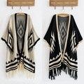 2016 Hot Sale Vintage 70s Cardigan Knit Blanket Batwing Sleeve Geometric Drape Hippie Tassels Sweater Jacket Free Shipping