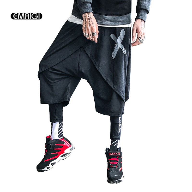 Homens Moda Casual Calça Harém Masculino Streetwear Hip Hop Estilo Punk Harem Pants Calças Basculador