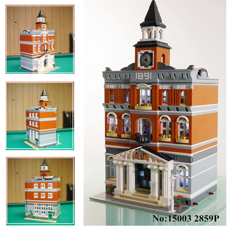 H&HXY IN STOCK Free shipping 15003 New 2859Pcs The town hall Model Building Kits Blocks Kid DIY Toy Gift LEPIN Compatible 10224 lepin 15003 new 2859pcs creators the town hall model building kits blocks kid toy compatible brick christmas gift