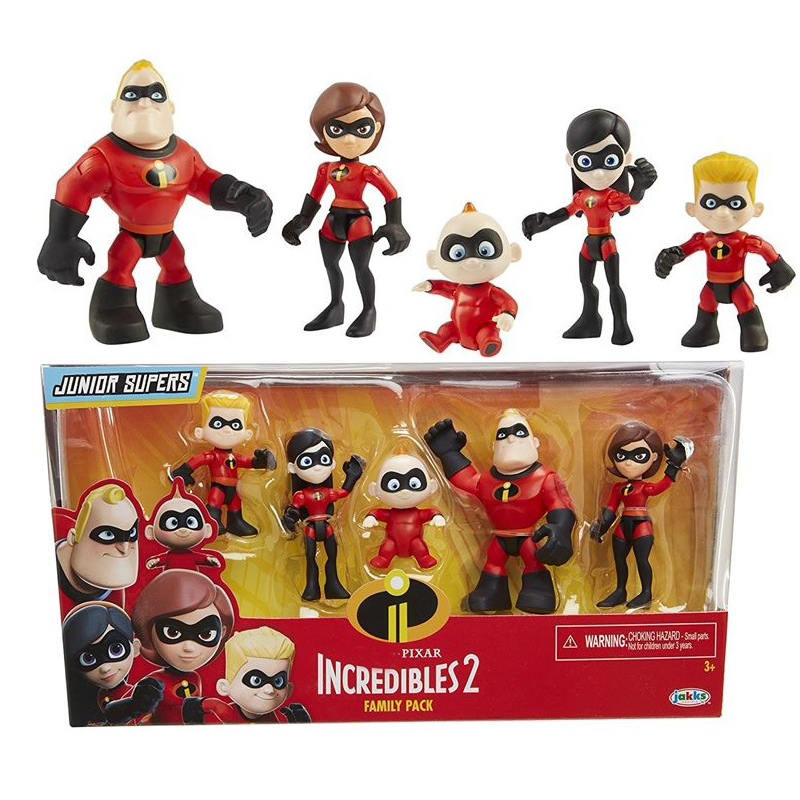Pixar The Incredibles 2 Family Pack Junior Supers Figures Toys Dash Parr Jack Parr Elastigirl 4-10cm