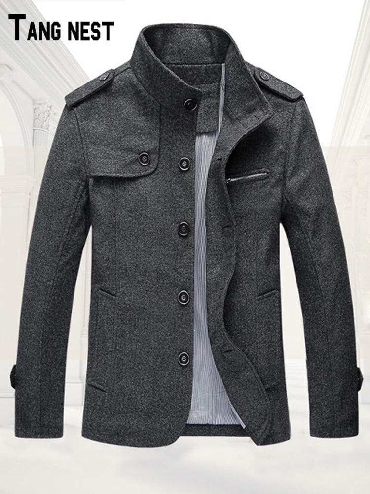 9c0f15d31 Nuevos Gran Oscuro E Tendencia Moda Lana Musiness caqui Tangnest gris De  Hombres Mwd065 Abrigo Confort ...