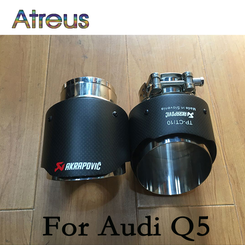 Carbon Fibeer Akrapovic Tips Car Exhaust Pipe For Mazda CX 5 6 Atenza CX5 Audi Q5