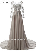 Robe de soiree longue Stunning Chiffon Bateau Neckline A line Evening Dress Vestidos de festa With Beading Prom Dresses