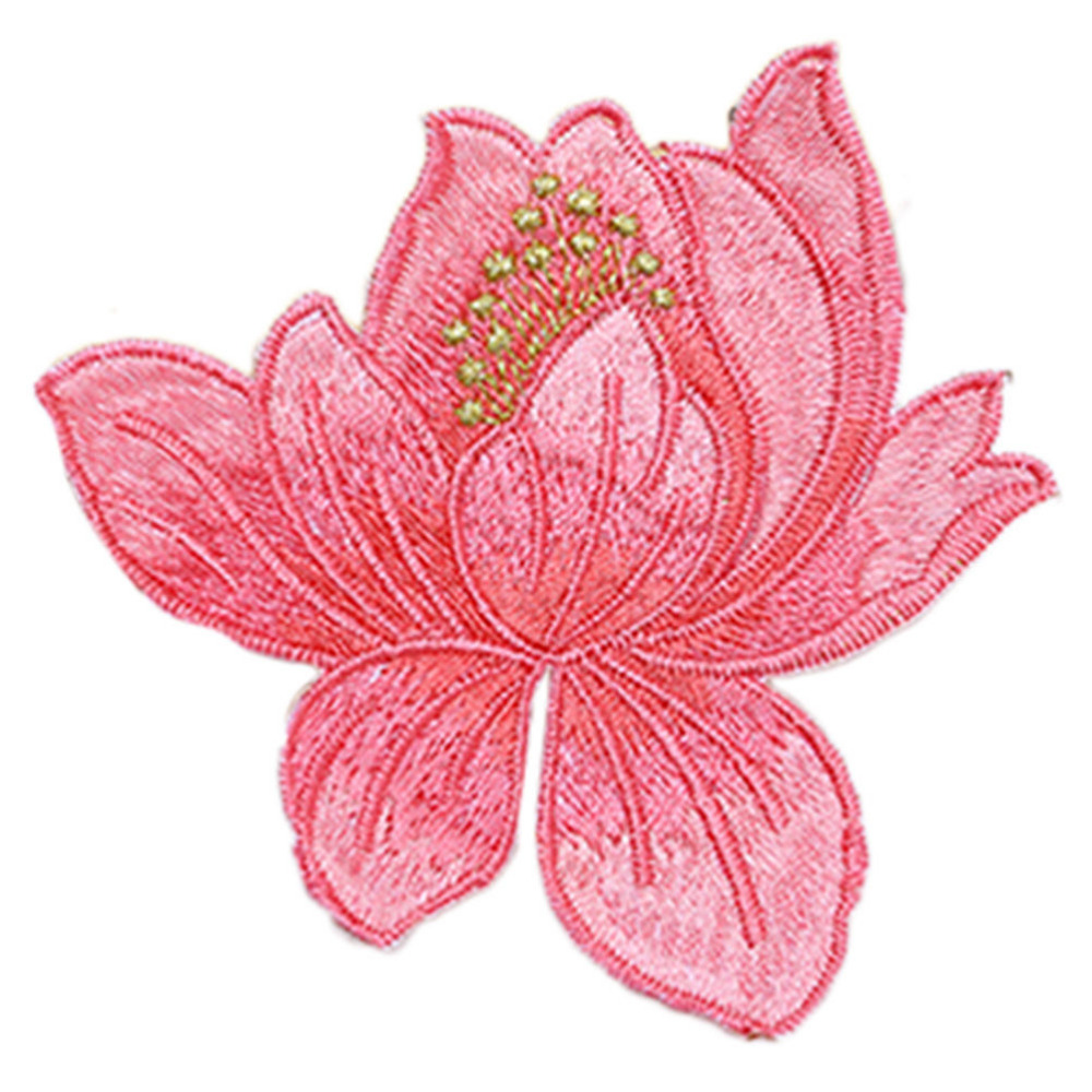 Pcs lotus flower embroidery patches iron on applique sew