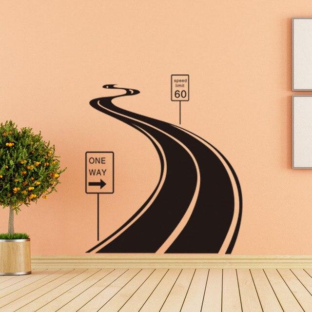 3D Creative Road Street 60 Black Highway Wall decor One Way Vinyl ...