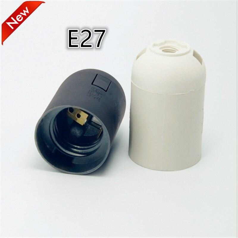 100pcs/lot E27 LED Plastic lamp Holder E27 Edison screw Light Bulb socket Holder DIY E27 socket base Free Shipping