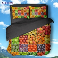 AHSNME High Definition 3D Fruit Pattern Black Cover Set Polyester Bedding Set customize Color Style of Super King Size Bed Set