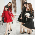 2015 Korean family fashion matching mother daughter clothes red black color long lace sleeve & lace cover mom and daughter dress