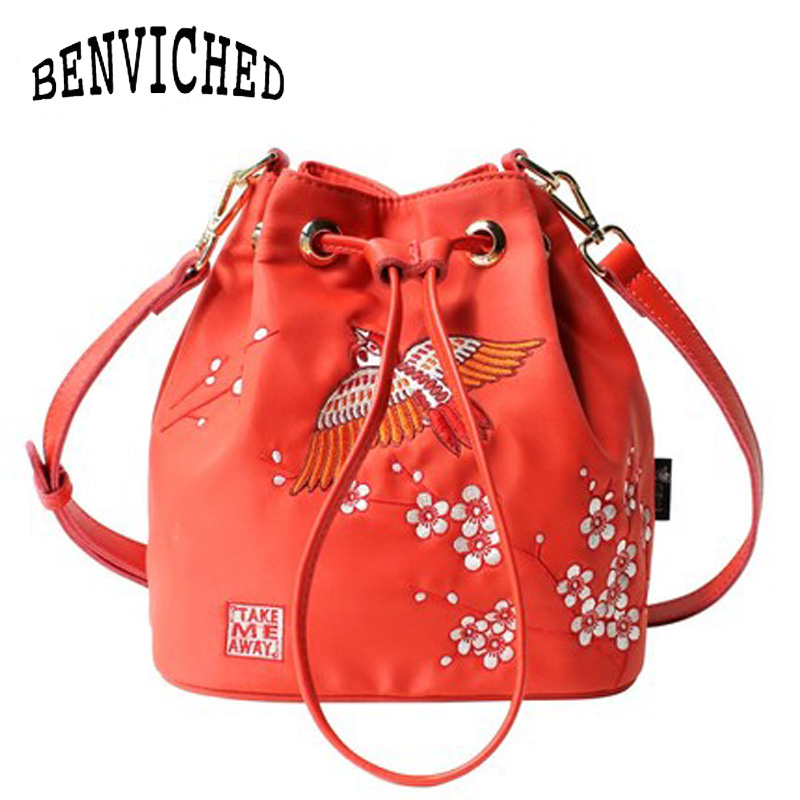 все цены на BENVICHED 2018 autumn winter single shoulder bag slash embroidered plum blossom literatur nylon red bag original Bucket Bag c145