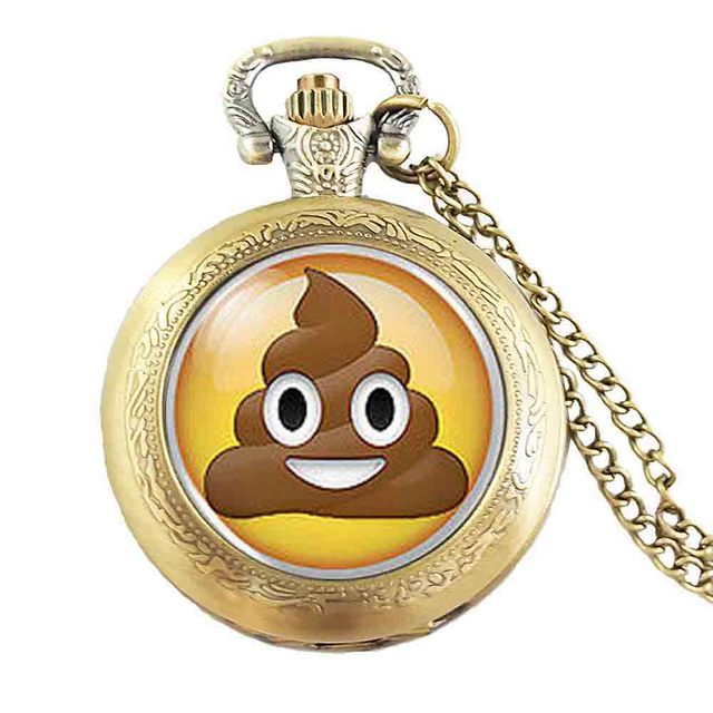 Pile Poo Poop Emoji Emoticon Geek Geeky Nerd Cabochon Mens funny Necklace Pocket Watch steampunk Jewelry friends Gifts chain