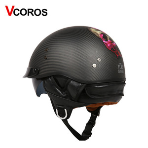 Image 3 - VCOROS Brand Retro Carbon Fiber Open Face Motorcycle Helmet Vintage Motorbike Helmet Cruise casco moto Scooter Man Helmet DOT