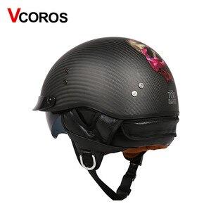 Image 3 - Vcoros capacete retrô de fibra de carbono, capacete retrô vintage para moto e scooter, para moto ponto ponto