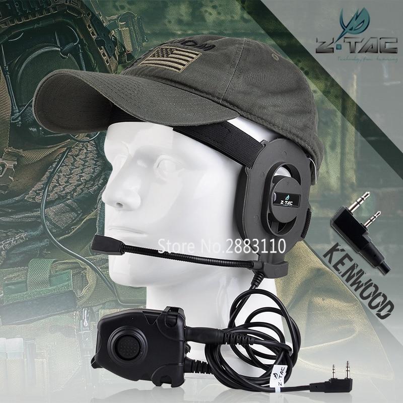 Z-Tactique Airsoft Bowman Elite II Casque Chasse pour Kenwod Portable Écouteurs Tactique Pins PTT pour Pin Militaire Z027 + Z 112