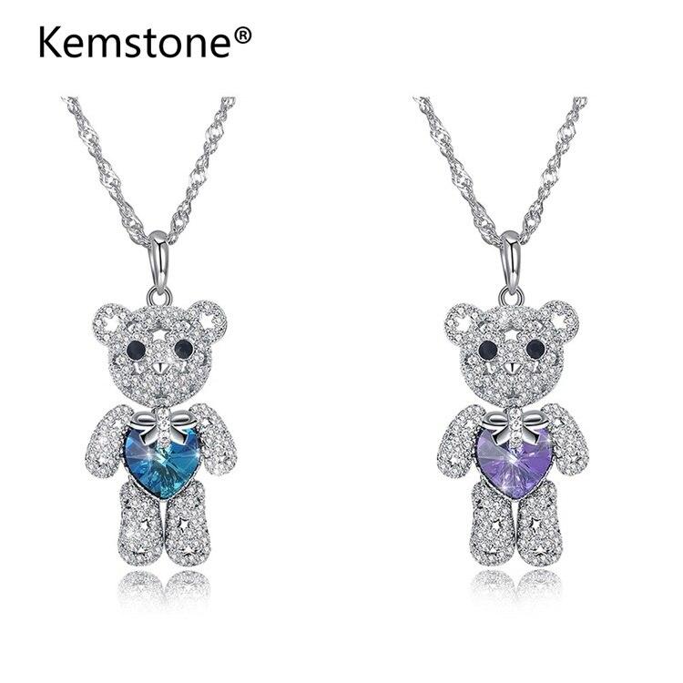 Kemstone Fashion Cute Blue Purple Heart Shiny Crystal Bear Pendant Sterling Silver Animal Necklace for Women
