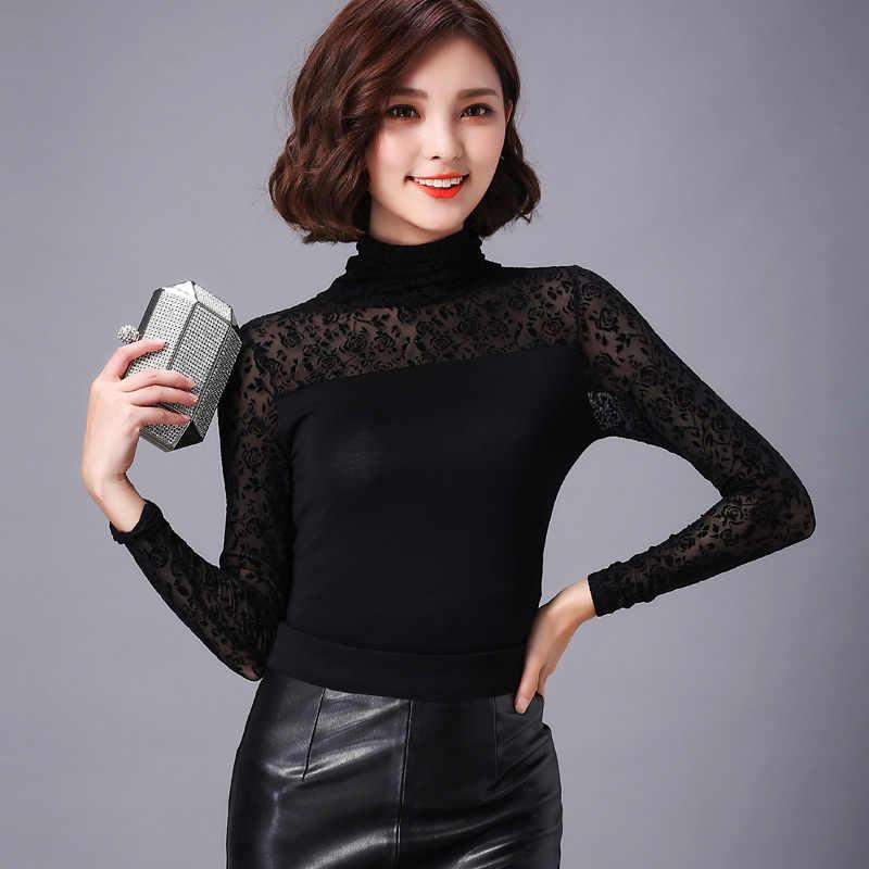 Podstawowe koszule bluzki Sheer gorące kobiety moda jesień wiosna Slim Fit body patchwork czarna siatka urząd koronki golfem góry