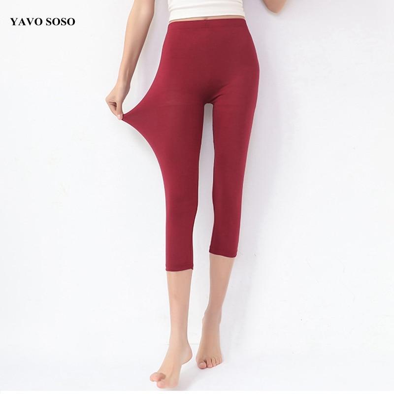 YAVO SOSO Women   leggings   Summer style Bamboo Fiber fertilizer Plus size 7XL Big Size candy color women's pants