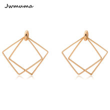 Simple Geometry Square earrings Gold and silver women's geometric earrings Metal alloy jewellery for women Antioxidation Friend(China)