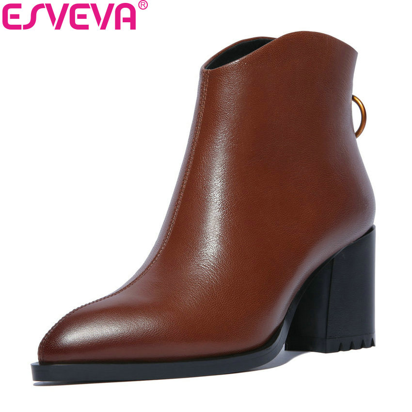 ESVEVA 2019 Women Shoes Zipper Square High Heels Motorcycle Shoes Ankle Boots Cow Leather PU Winter Woman Shoes Size 34-42 esveva 2018 cow leather pu women boots autumn shoes ankle boots square high heels ladies motorcycle boots black size 34 39