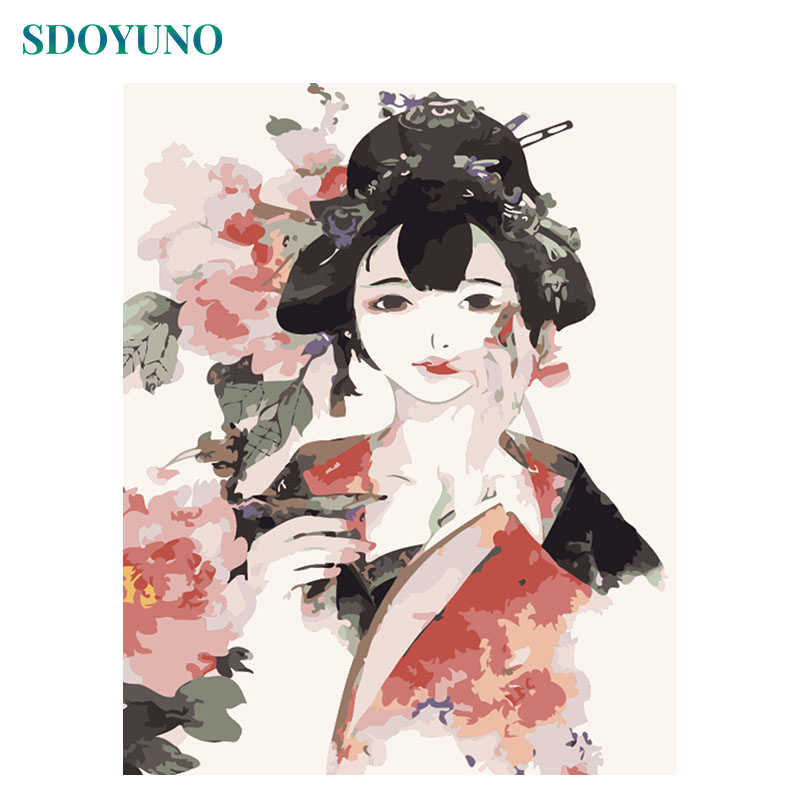 SDOYUNO Painting by numbers Chinese style Figure Painting Frame wedding decoration home decor Pictures For Living Room DIY Gift