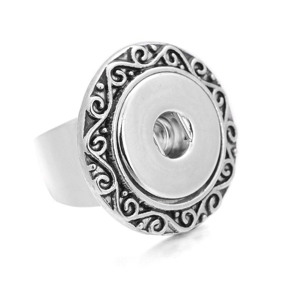 2018 Neue Ankunft Mode Silber Vintage Ringe Blumen Snap Ring Fit 18mm Druckknopf Schmuck Einstellbare Verlobungsring Für Frauen RegelmäßIges TeegeträNk Verbessert Ihre Gesundheit