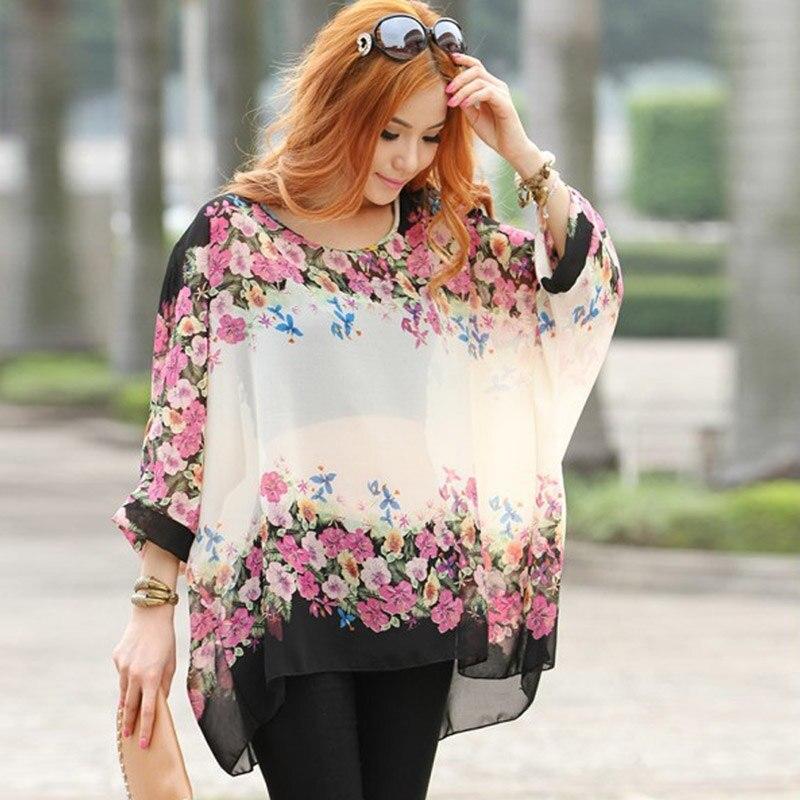Bohemian Batwing Sleeve Chiffon   Blouse     Shirts   Women Casual Floral Print Loose Kimono Big Size Beach Tunic Tops Peplum Blusa Robe