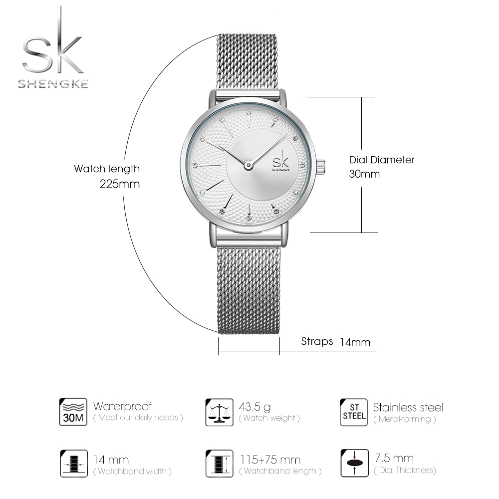 Shengke Watch Women Casual Fashion Quartz Wristwatches Crystal Design Ladies Gift Relogio Feminino Mesh Band Zegarek Damski 2019