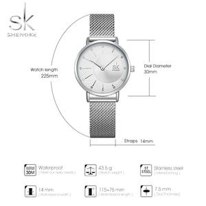 Image 5 - Shengke Watch Women Casual Fashion Quartz Wristwatches Crystal Design Ladies Gift Relogio Feminino Mesh Band Zegarek Damski 2020