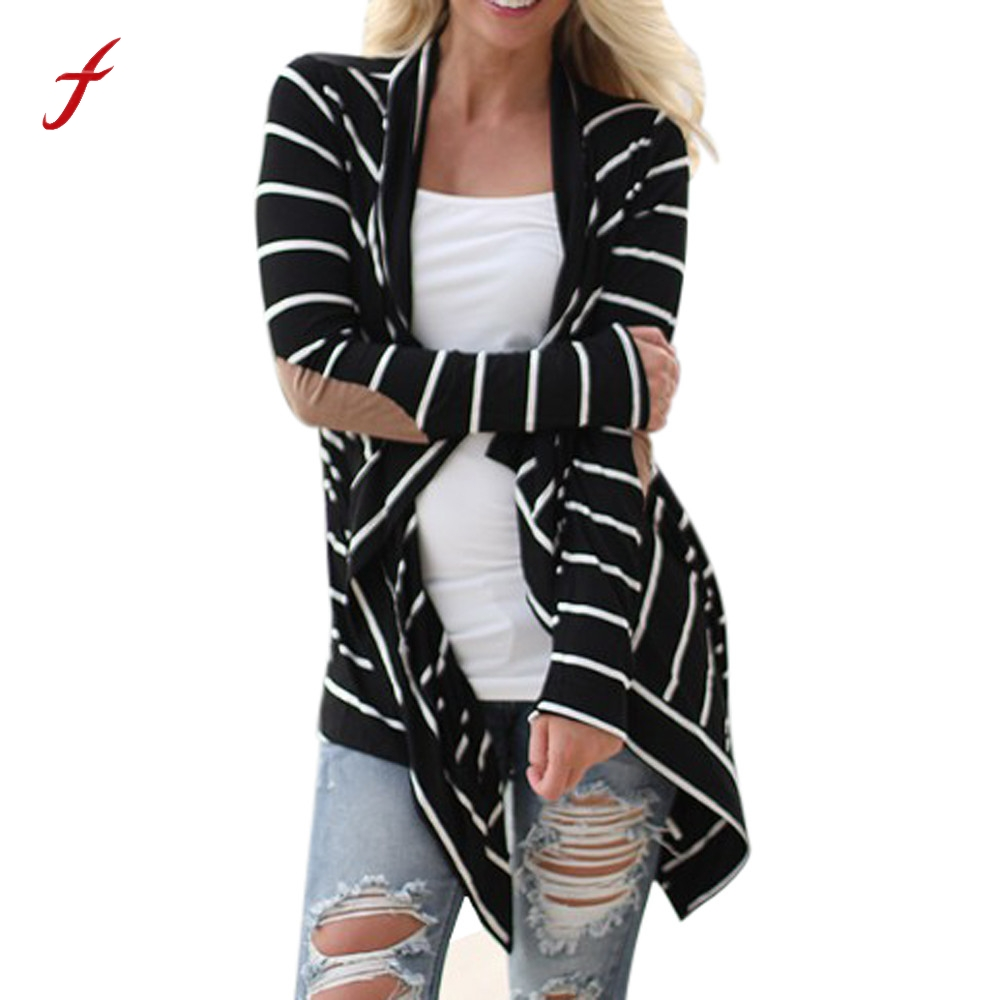 da1d1fa9ee Feitong Black and White Stripe Elbow Patching PU Leather Long Sleeve Knitted  Cardigan Fall Slim 2019