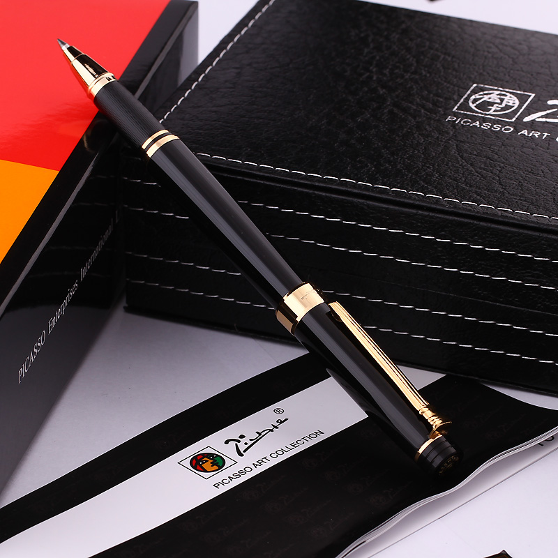 Pimio Picasso 917 Roller Ball Pen with Original Gift Box Nice and High End Ballpoint Pens Free Shipping pimio 989f pure white and silver clip roller ball pen a black refill ballpoint pens set luxury gift box package free shipping
