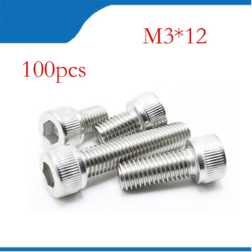 M3 screws m3 bolt 100pcs/Lot Metric Thread DIN912 M3x12 mm M3*12 mm 304 Stainless Steel Hex Socket Head Cap Screw Bolts