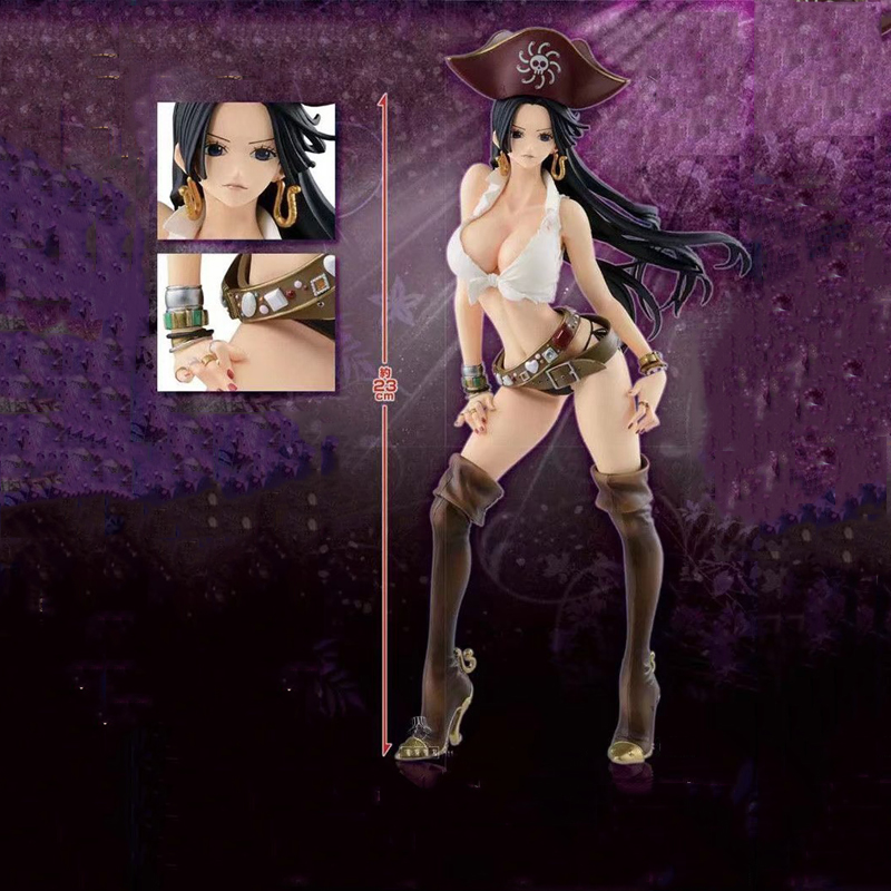 anime sexy figure one piece portrait of pirates pop boa hancock ver 3d2y pvc action figures collection model toys doll 23cm Sexy Female Cartoon Anime Figure 23cm One Piece Flag Diamond Ship Boa Hancock PVC Action Figure Pirate Captain Model Collection