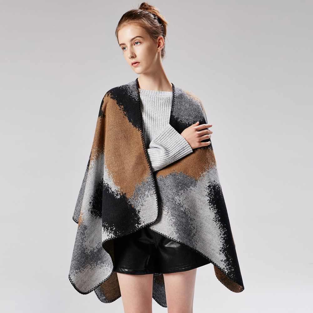 Новые женские модные кардиганы, толстые зимние шали, теплые мягкие платки, женские высококачественные большой шарф, накидка для путешествий, пончо