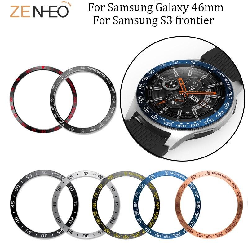 Anti Scratch Etiqueta De Metal Para Samsung Galaxy 46mm/Engrenagem S3 Frontier substituição Moldura Anel Caso Protetor Acessórios relógio