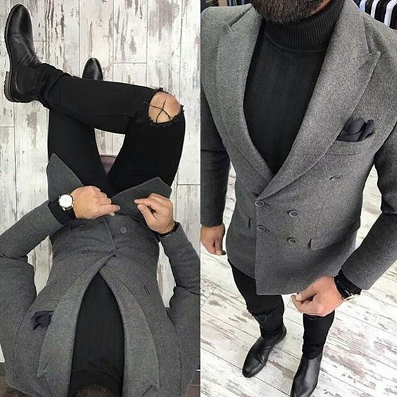 bacaa287 US $43.44 42% OFF|Latest Coat Designs Grey Tweed Men only Jacket Slim Fit  Double Breasted Blazer Custom Groom Fashion Prom Suits Terno Masculino-in  ...