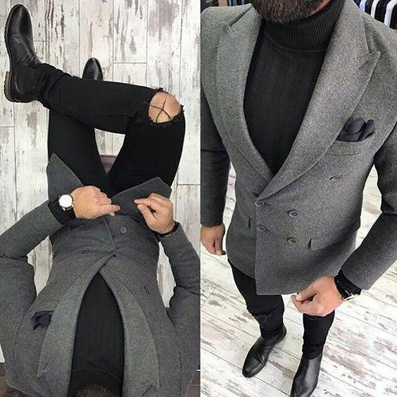 latest coat designs grey tweed men only jacket slim fit double