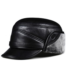 HL162 winter man warm hat 2018 new genuine leather baseball cap ear flap bomber hats with Faux fur inside black цена