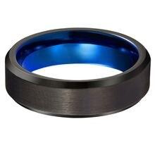 Вольфрамовое кольцо 6 мм для мужчин и женщин синий черный со