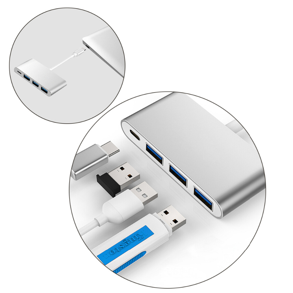 JCKEL USB C Type 3.1 Hub to Type C PD Power Delivery Charging + USB 3.0 3 Port Splitter Adapter for Macbook DELL