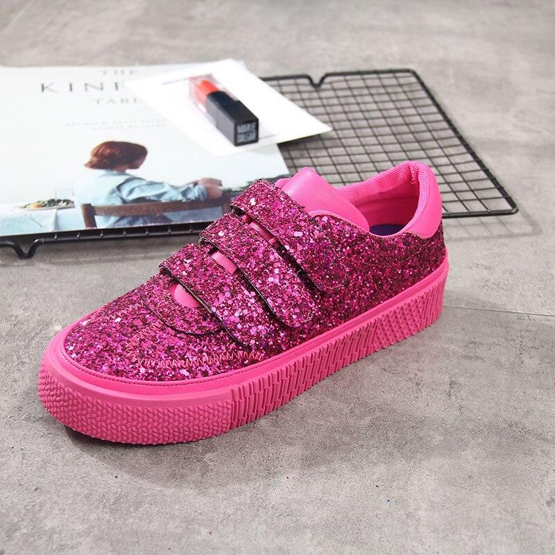 B Paillettes Des Printemps Glitter De Argent Apricot Mujer Dames Nouveau argent Femmes Chaussures rouge Zapatos Sneakers Femme forme Plate rose vert Chunky Oxnz4