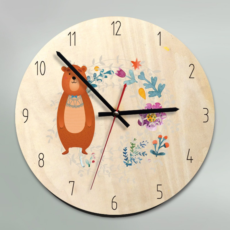 Non Ticking Wall Clock Nordic Style Battery Operated Cartoon Wooden Clock Home 30CM Silent Kids Wall Clock Large Decorative