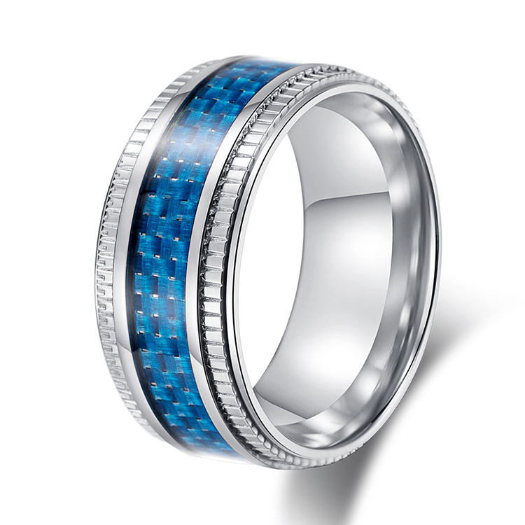 Stainless Steel Carbon Fiber Inlay Mens Wedding Band ...